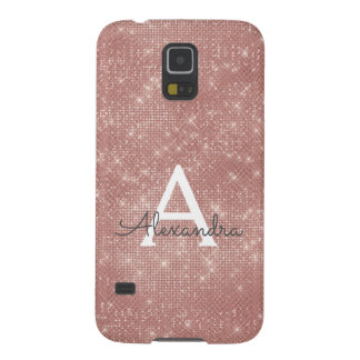 Pink Rose Gold Sparkle Modern Monogram Name Cases For Galaxy S5