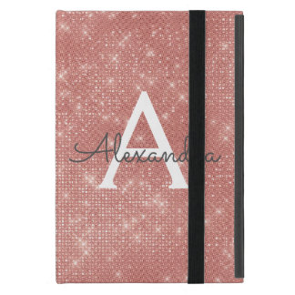 Pink Rose Gold Sparkle Modern Monogram Name Cover For iPad Mini