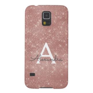 Pink Rose Gold Sparkle Modern Monogram Name Galaxy S5 Case