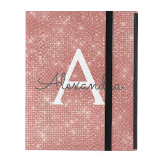 Pink Rose Gold Sparkle Modern Monogram Name iPad Folio Case