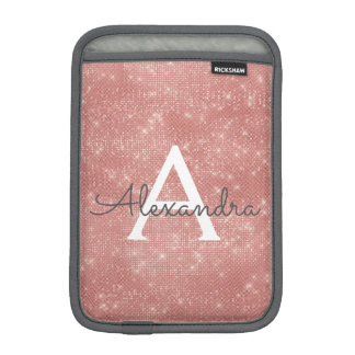Pink Rose Gold Sparkle Modern Monogram Name iPad Mini Sleeve