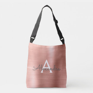 Pink Rose Gold Stainless Steel Monogram Crossbody Bag