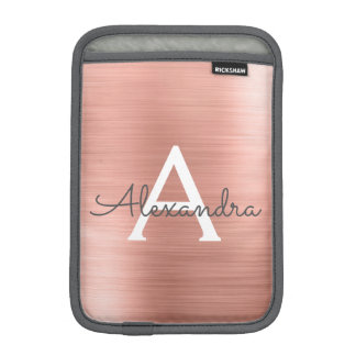Pink Rose Gold Stainless Steel Monogram iPad Mini Sleeve
