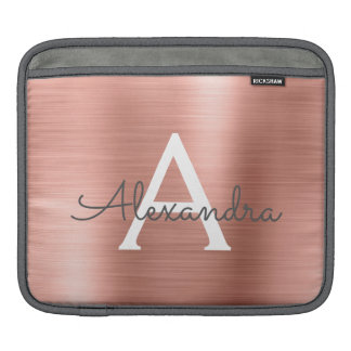 Pink Rose Gold Stainless Steel Monogram iPad Sleeve