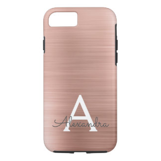 Pink Rose Gold Stainless Steel Monogram iPhone 8/7 Case
