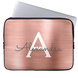 Pink Rose Gold Stainless Steel Monogram Laptop Sleeve