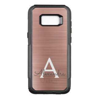 Pink Rose Gold Stainless Steel Monogram OtterBox Commuter Samsung Galaxy S8+ Case