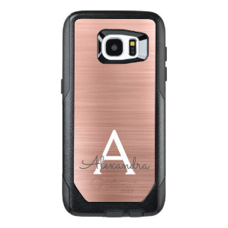 Pink Rose Gold Stainless Steel Monogram OtterBox Samsung Galaxy S7 Edge Case