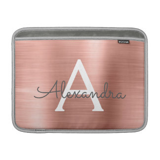 Pink Rose Gold Stainless Steel Monogram Sleeve For MacBook Air