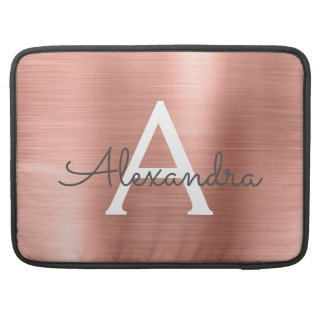 Pink Rose Gold Stainless Steel Monogram Sleeve For MacBook Pro