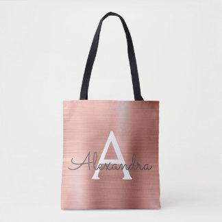 Pink Rose Gold Stainless Steel Monogram Tote Bag