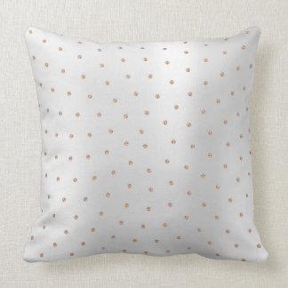 Pink Rose Gold Swarovski Crystal Silver Gray Dots Cushion