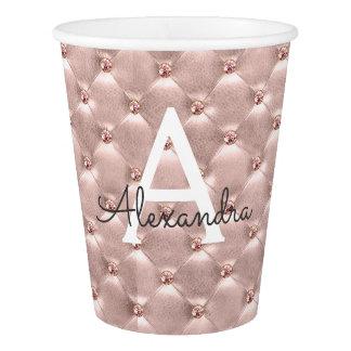 Pink Rose Gold Vintage Paris Monogram Paper Cup
