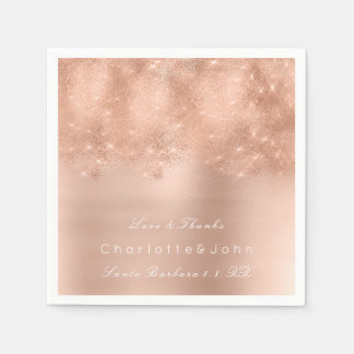 Pink Rose Gold White Glitter Bridal Sweet Girly Disposable Serviette