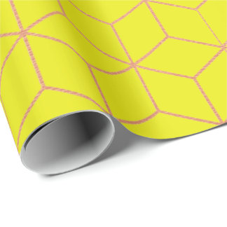 Pink Rose Gold Yellow Lemon Geometry Square 3D Wrapping Paper