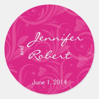 Pink Rose Graphic Wedding Envelope Seal Round Sticker