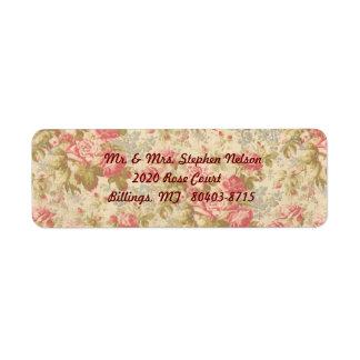 Pink Rose Green Leaf Return Address Label