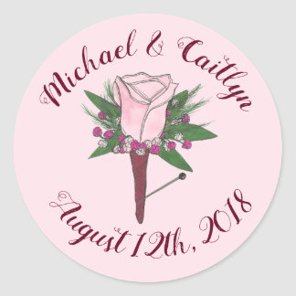 Pink Rose Groom Boutonniere Wedding Save the Date Classic Round Sticker