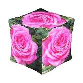 Pink Rose Growing On A Bush, Full Print Pouffe. Pouf