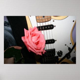 Pink rose guitar body strings pickguard music poster