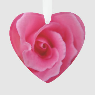 Pink Rose - Heart Ornament
