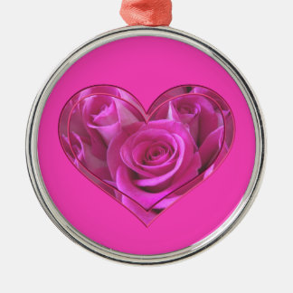 Pink Rose Heart Silver-Colored Round Decoration