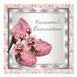 "Pink Rose High Heel Shoes Quinceanera 5.25"" Square Invitation Card"