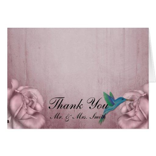 Pink Rose Hummingbird Thank You card