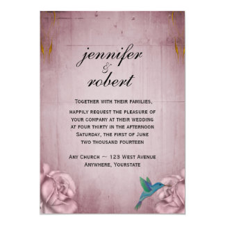 "Pink Rose Hummingbird Wedding Invitation 5"" X 7"" Invitation Card"