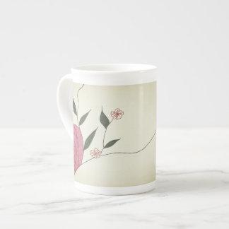 Pink rose Ikebana minimalist china mug