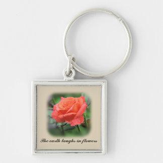 Pink Rose in full bloom Key Ring