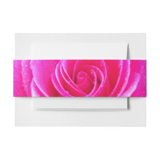 Pink Rose Invitation Belly Band