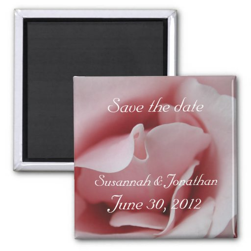 Pink Rose Kiss Save The Date Magnets