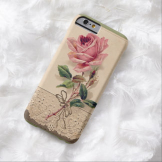 Pink Rose & Lace Floral Romance Ribbon Vintage Barely There iPhone 6 Case