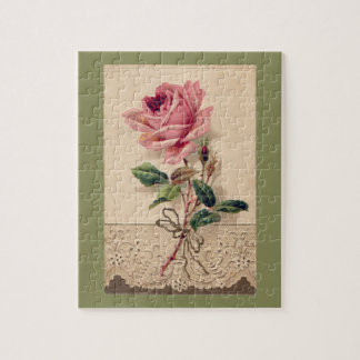Pink Rose & Lace Floral Romance Vintage Jigsaw Puzzle