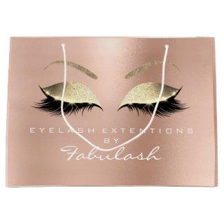 Pink Rose Lashes Blush Makeup Glitter Branding Large Gift Bag