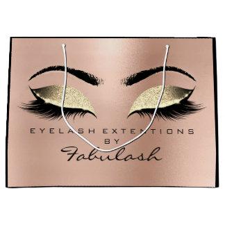 Pink Rose Lashes Eyes Makeup Gold Beauty Large Gift Bag