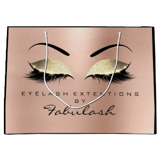 Pink Rose Lashes Eyes Makeup  Minimal Branding Large Gift Bag