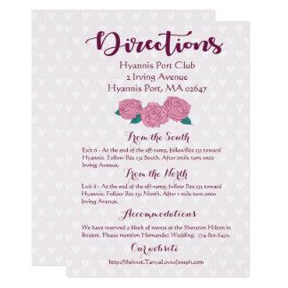Pink Rose Lavender Purple Heart Directions Wedding Card