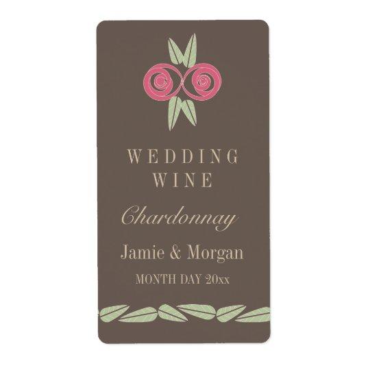 Pink Rose Leaves Brown Retro Wedding Wine Label Shipping Label