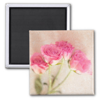 Pink Rose Marble Stone Background Collage Roses Magnet