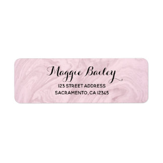Pink Rose Marble Swirl Return Address Label