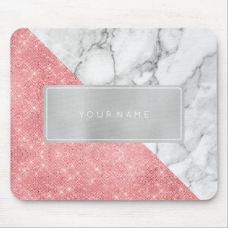 Pink Rose  Metallic Gray Marble White Rectangular Mouse Pad
