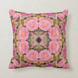 Pink Rose Moss Mandala Pillow, Bed or Sofa Cushion