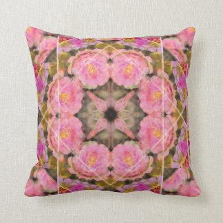 Pink Rose Moss Mandala Pillow, Bed or Sofa Throw Pillow