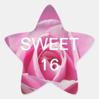 Pink Rose of Love Star Sticker