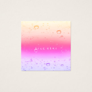 Pink Rose Ombre Abstract Water Ocean Balls Square Business Card