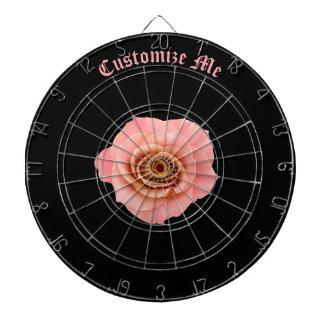 Pink Rose on Black Dartboard