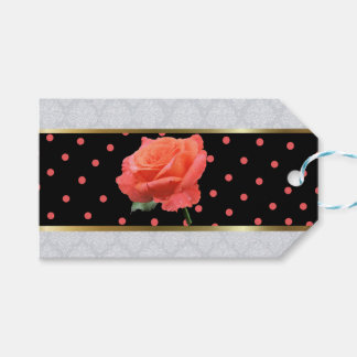 Pink Rose on Black Pink Polka Dot Band Gift Tags