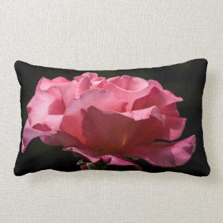 Pink Rose on Black Throw Pillow
